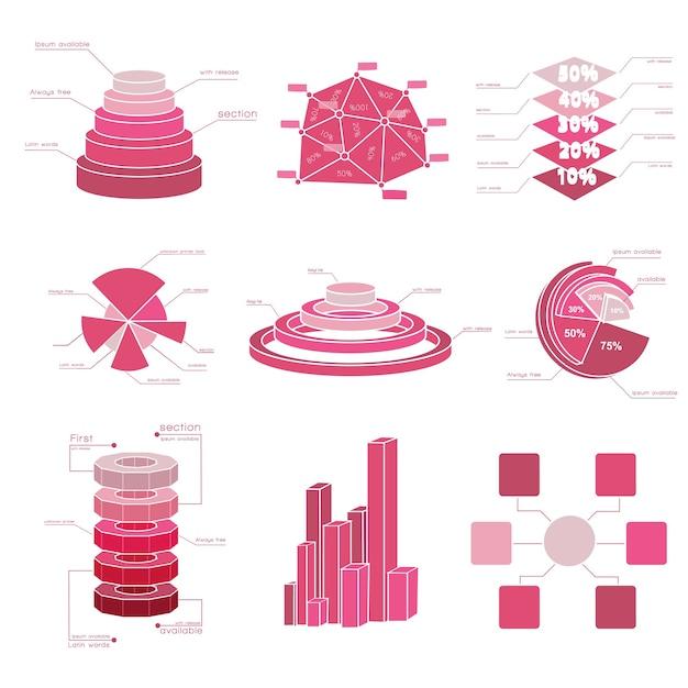 Grande insieme di elementi del diagramma con diverse tonalità di rosso e diversi tipi di grafici isolati Vettore gratuito