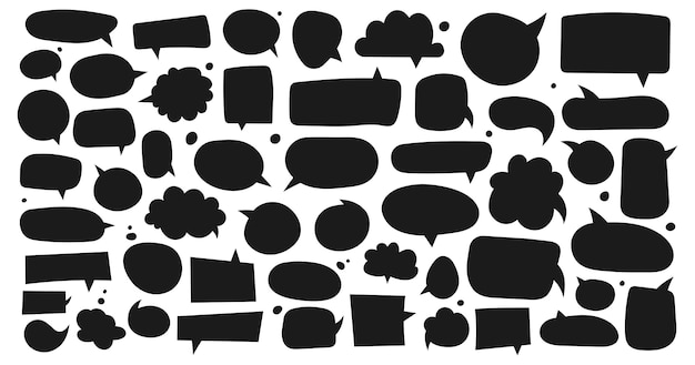 Big set of dialog boxes different variants drawn by hand Premium Vector