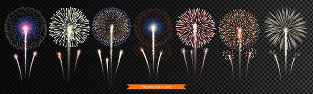 Big set of   fireworks on transparent background Premium Vector