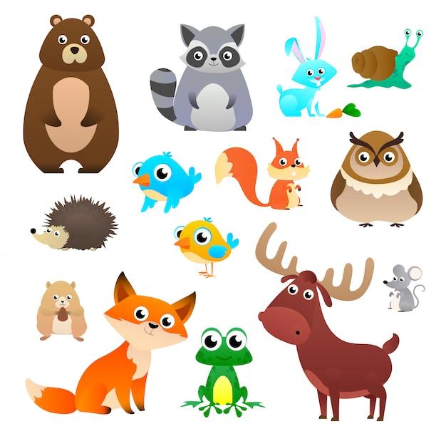 漫画のスタイルは、白い背景で隔離の大きなセットの森の動物 Premiumベクター
