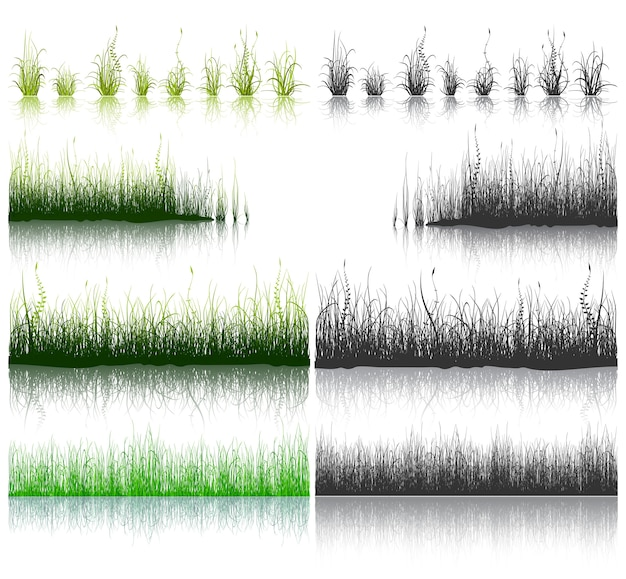 Big set of green and black grass isolated on white background. Premium Vector