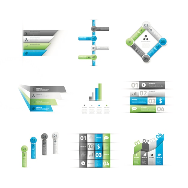 Big set of green and blue infographic option elements vector Premium Vector