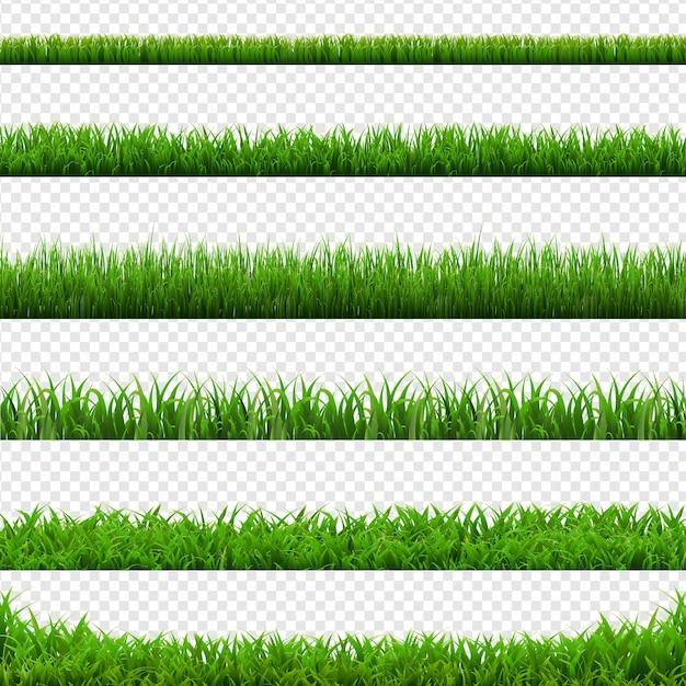 大きなセット緑の草の境界線透明な背景、ベクトルイラスト Premiumベクター