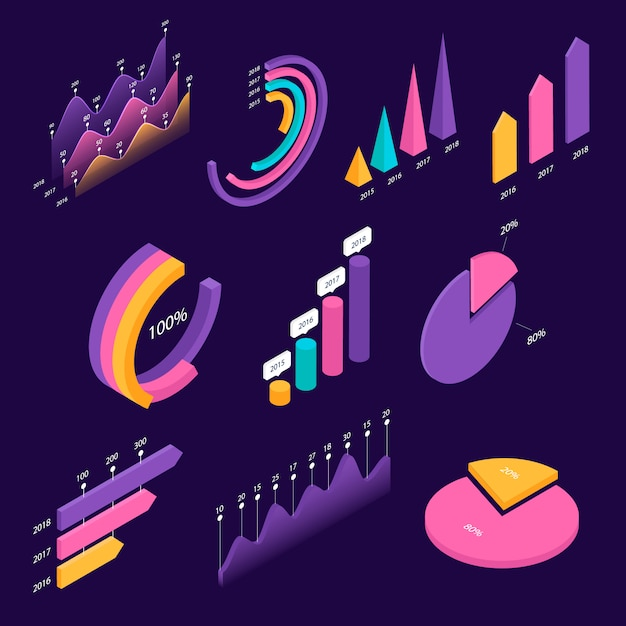 Big set of infographic isometric elements. templates of colorful graphs and diagram, information data statistic and analysis. template for presentation, report design, landing page. Premium Vector