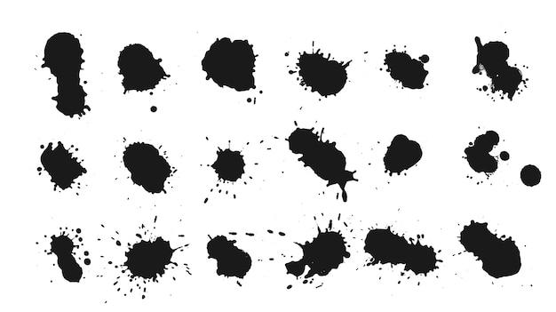 Grande set di gocce di inchiostro design splats Vettore gratuito