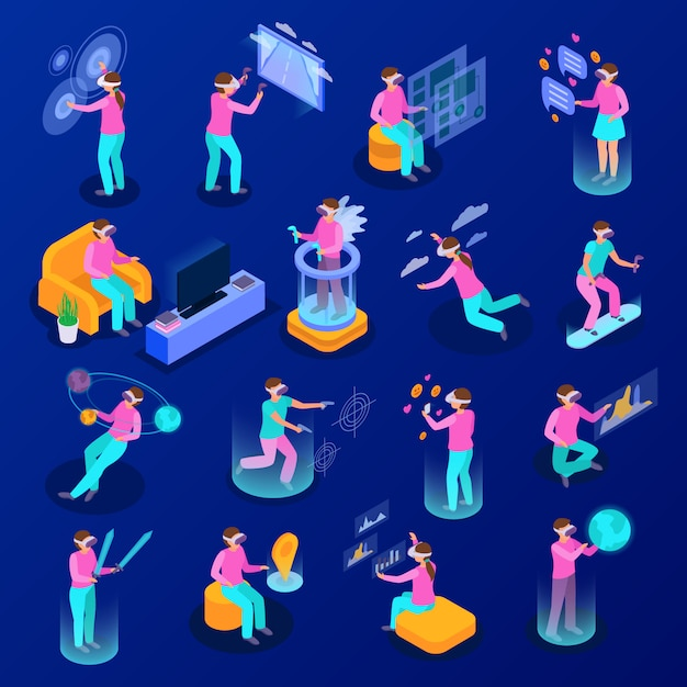 Big set of isometric icons with people using various augmented reality devices isolated on blue background 3d  illustration Free Vector