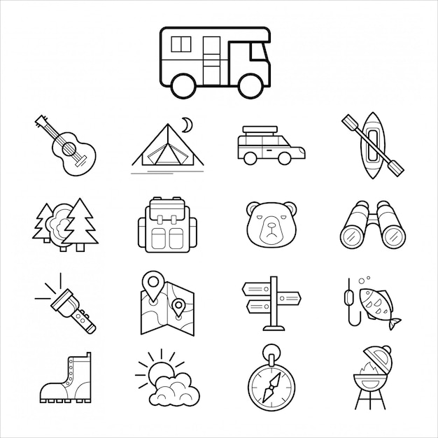 Big set linear icon camping and tourism Premium Vector