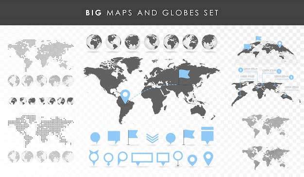 Big set of maps and globes. pins collection. different effects. transparent vector illustration Premium Vector