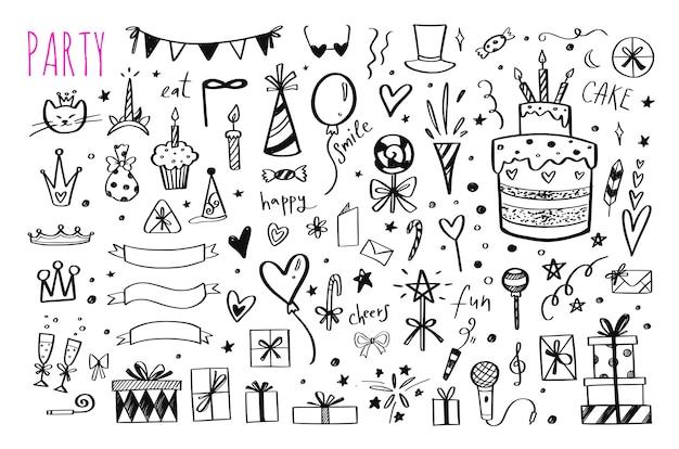 Большой набор рисованной элементов вечеринки по случаю дня рождения Premium векторы