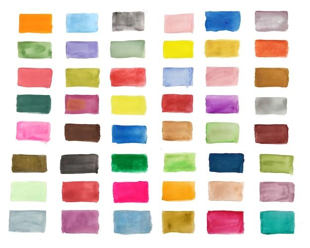 손의 큰 세트는 다양한 색상의 수채화 텍스처를 그린 무료 벡터