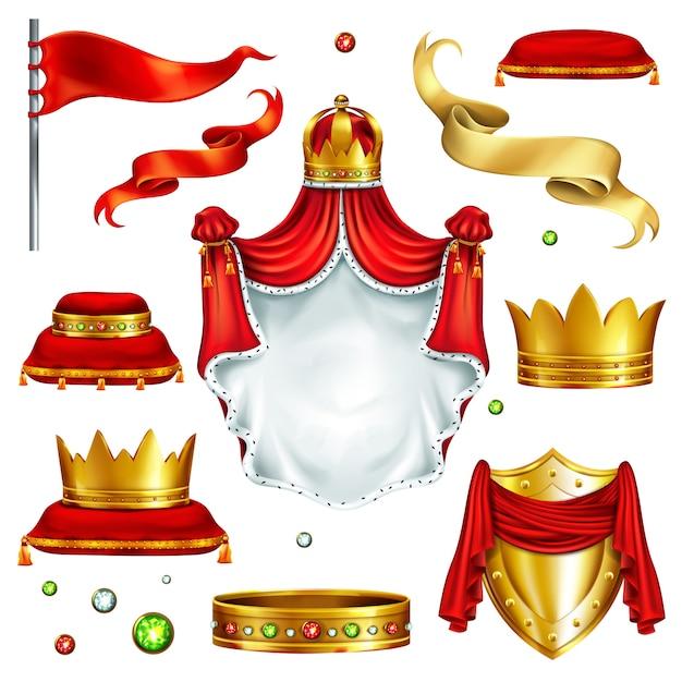 Большой набор символов власти монарха Бесплатные векторы