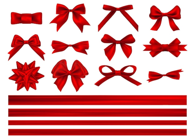 리본으로 빨간 선물 리본의 큰 세트. 흰색 절연 가로 레드 리본 장식 붉은 나비. 프리미엄 벡터
