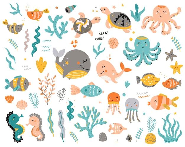 子供のための海の動物の大きなセット Premiumベクター
