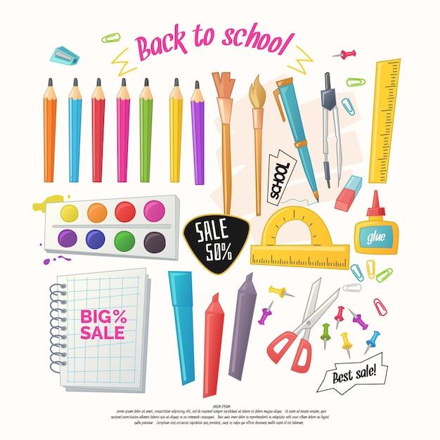 Большой набор канцелярских товаров для школы, офиса и ручной работы в мультяшном стиле. товары для детского творчества Premium векторы