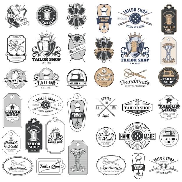 Большой набор векторных старинных портновских значков, наклеек, эмблем, вывесок Бесплатные векторы