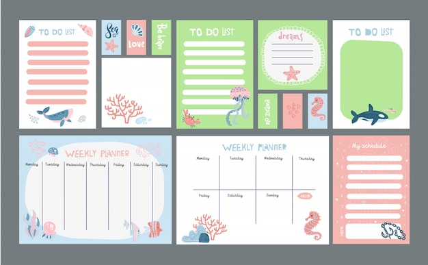 Big set of pastel planner with marine life cute illustrations. Premium Vector