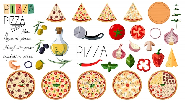 Big set pizza. traditional different ingredients. logo pizza. italian whole pizza with slices: margarita, seafood, vegetarian, pepperoni. Premium Vector
