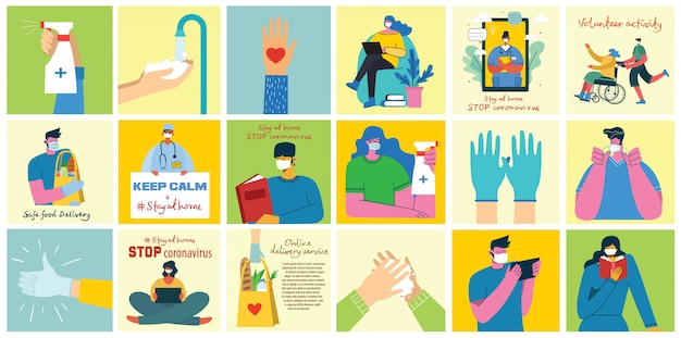 Big set of posters wash hands, hygiene, doctors, hands in gloves, stay home and healthcare. protect against virus concept design.vector illustrations in flat style. Premium Vector