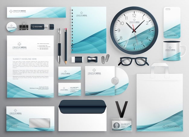 Big set of professional brand identity business stationery Free Vector
