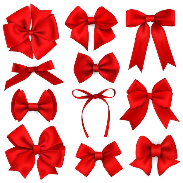 Big set of realistic red gift bows and ribbons Premium Vector