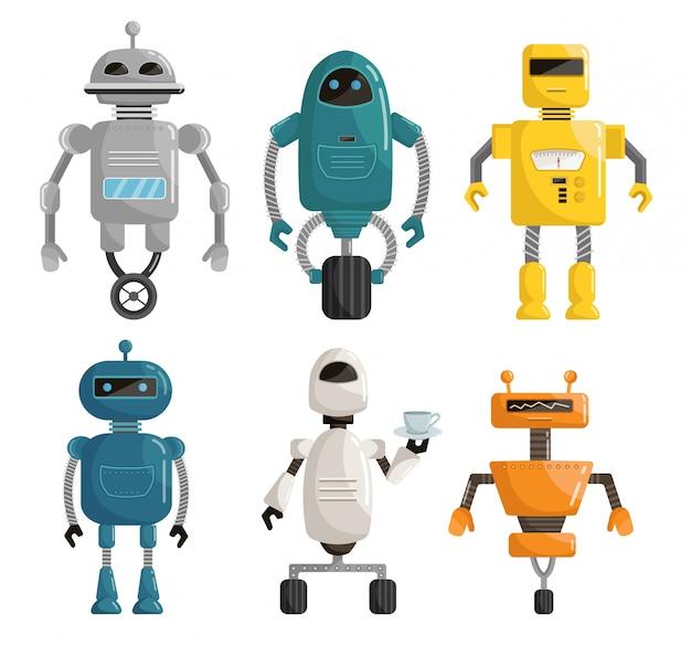 Big set robots cartoon vector illustration Premium Vector