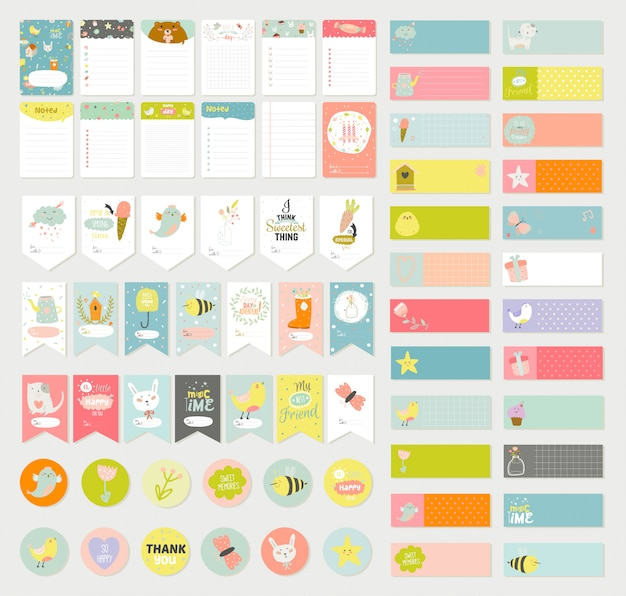 Big set of romantic and cute vector cards, notes, stickers, labels, tags with spring illustrations and wishes. Premium Vector
