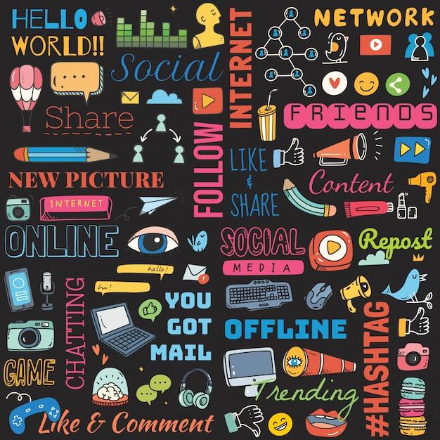 Big set of social media background doodle Premium Vector