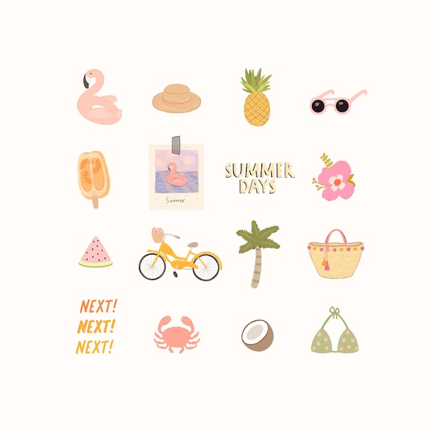 Big set of stylish elements on a beach theme and summer holiday. Premium Vector