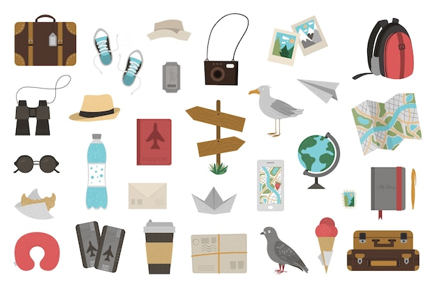 Big set of traveling objects isolated on white background. trendy journey kit. travel icons collection. vacation infographic elements pack. Premium Vector