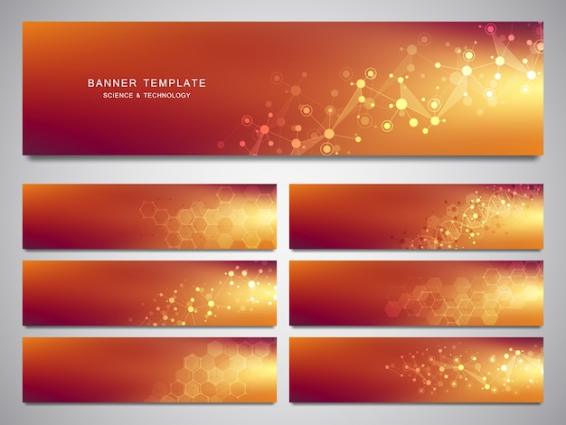 Big set of vector banners and headers for site with molecules background and neural network. genetic engineering or laboratory research. Premium Vector