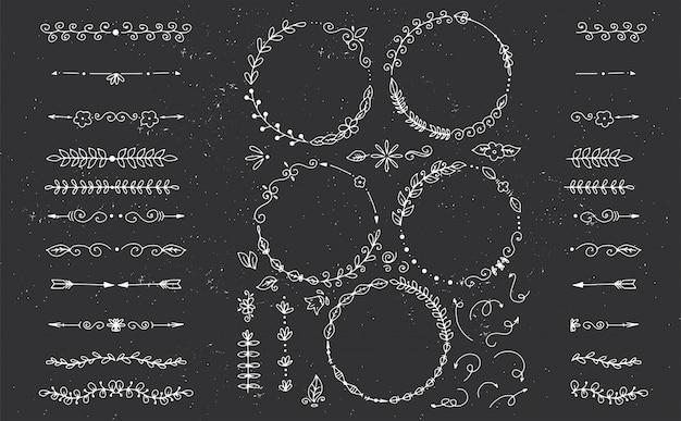 Kumpulan besar elemen desain gambar tangan dekoratif vektor untuk menu, Vektor Premium