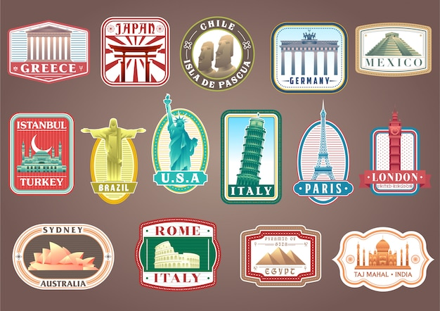 Big set of vector travelling stickers with world's famous landmarks Premium Vector