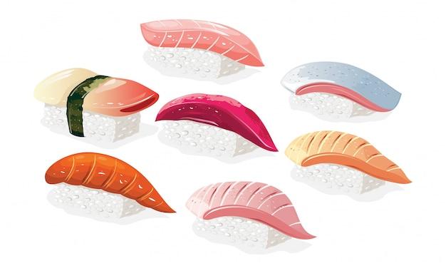 Большой набор с японскими суши хоккигай, хираме, тай, магуро, саке, саба, хамачи. азиатские блюда из риса с уксусом и рыбы. реалистичные иллюстрации на белом фоне для меню. Premium векторы