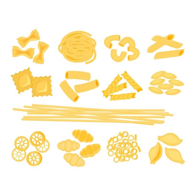Большой набор с различными типами иллюстрации итальянской пасты, изолированной на белом заднем. спагетти, фарфалле, пенне, ригатони, равиоли, фузилли, конкилье, локти, итальянская паста феттуцин Premium векторы