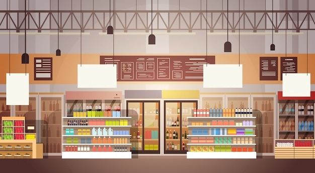 Big shop super market shopping mall interior Premium Vector