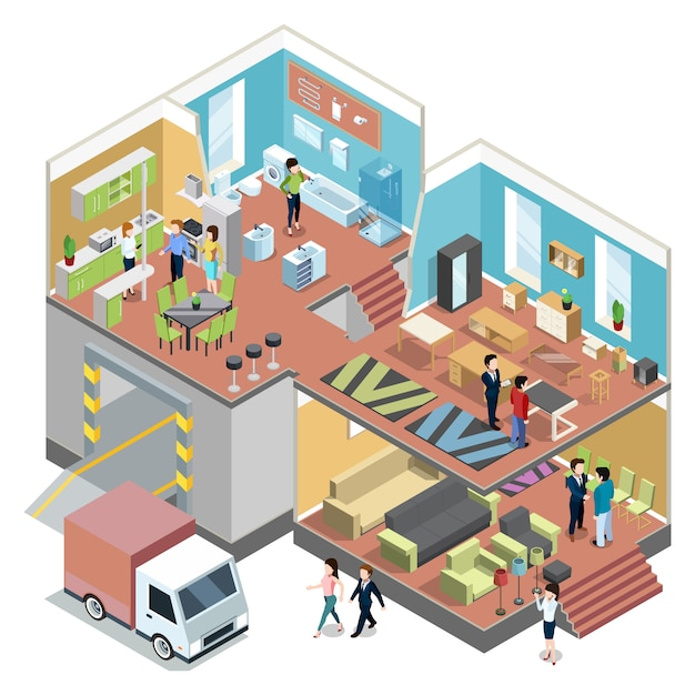Big shopping center with interior of modern furniture shop. Premium Vector
