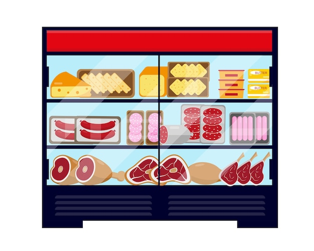 Big showcase refrigerator full of meat food and cheese. vector illustration isolated on white background. Premium Vector