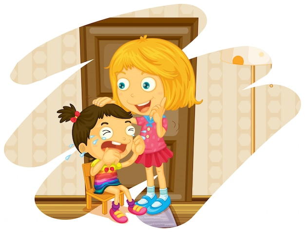 Big sister cheers up when little sister crying Free Vector