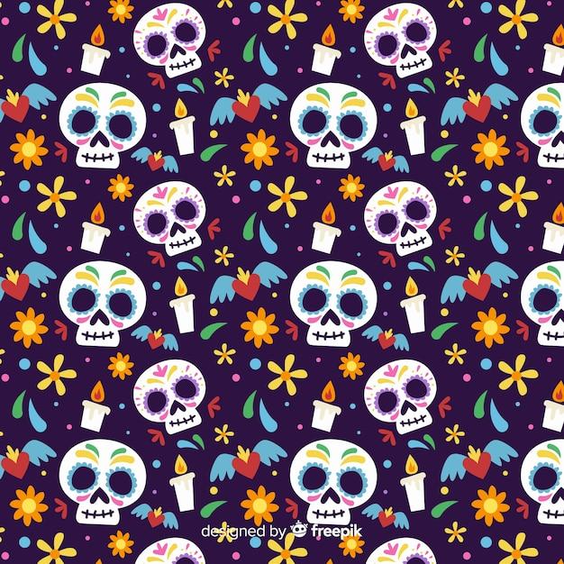 Big skulls flat día de muertos pattern Free Vector