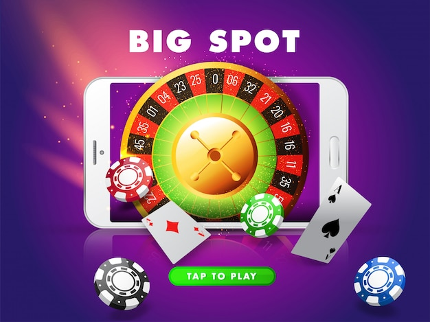 Big slot in smartphone with roulette wheel, casino chips and playing card on purple lighting effect  for casino. Premium Vector