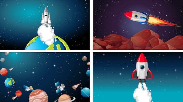 ビッグスペースシーンセット 無料ベクター