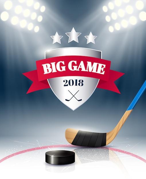 Большой спортивный игровой плакат с хоккейной экипировкой Бесплатные векторы