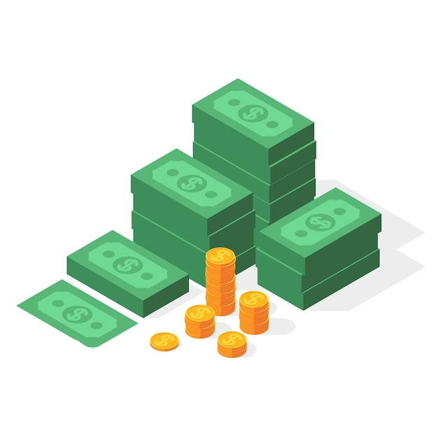 Big stacked dollar pile of cash and gold coins. Premium Vector
