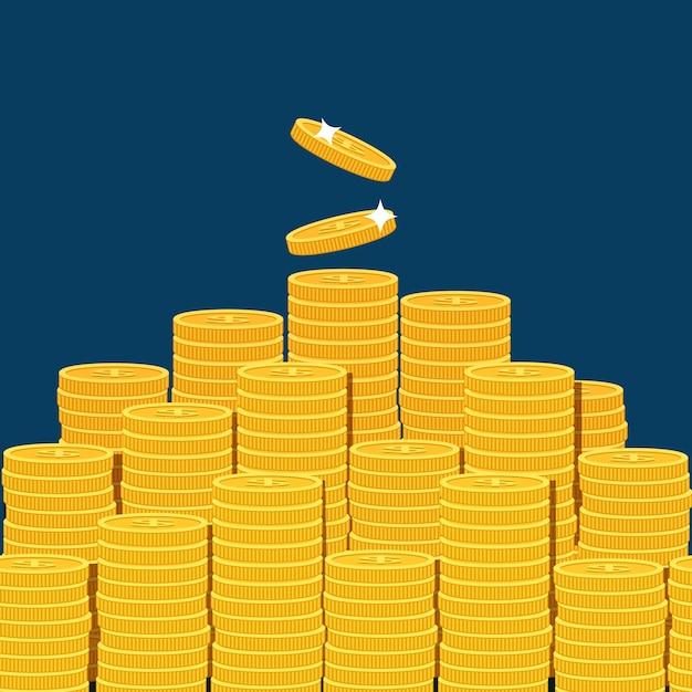 暗い青色の背景に分離されたコインの大きな積み上げ山。 Premiumベクター