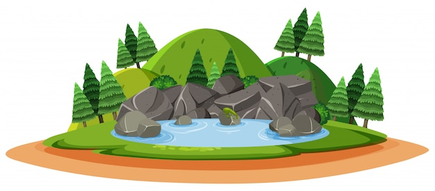 Big stone on the forest land on white background Premium Vector