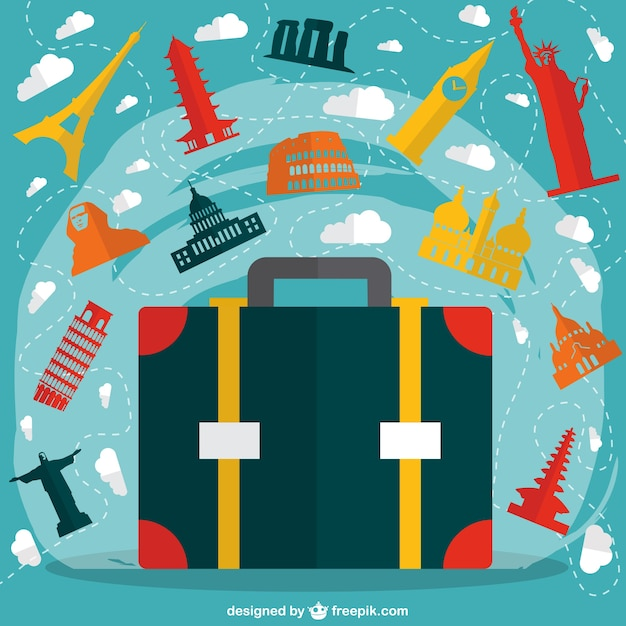 Big suitcase with colorful monuments Free Vector