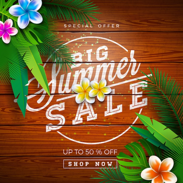 Big summer sale design with exotic palm leaves and typography letter on vintage wood background. tropical special offer illustration Premium Vector