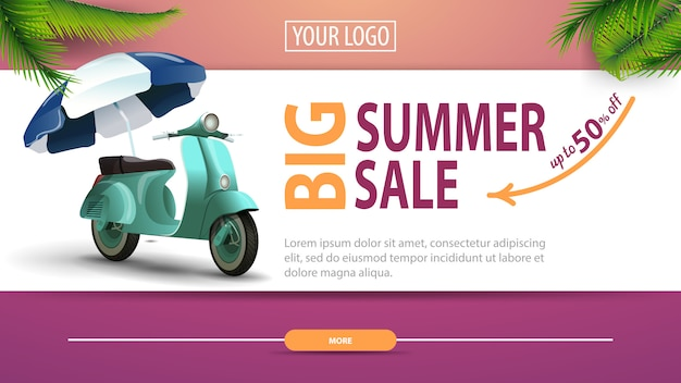 Big summer sale, discount horizontal web banner with modern, stylish design Premium Vector