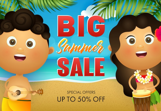 Big summer sale flyer design. hawaiian boy and girl playing drum Free Vector