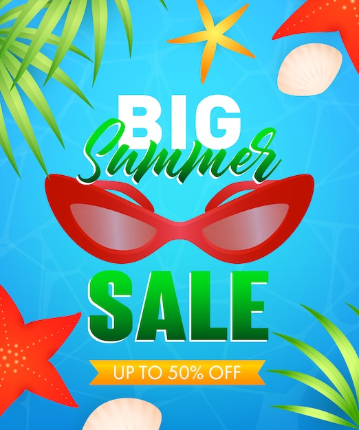 Big summer sale lettering with sunglasses, starfishes Free Vector